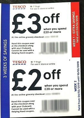 3x Tesco Vouchers / Coupon -  Worth £7 off (1x £3 off £20) + (2x £2 off £20)