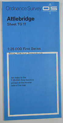 1972 old vintage OS Ordnance Survey 1:25000 First Series map TG 11 Attlebridge