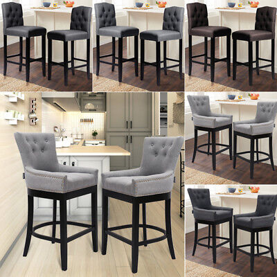 Grey Linen Fabric Breakfast Counter Chairs Bar Stools Wood Barstools Stool Chair