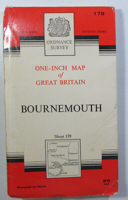Vintage 1966 OS Ordnance Survey One-Inch Seventh Series Map 179 Bournemouth Clth