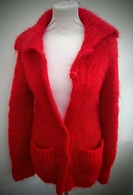 Red Hand Knitted Vintage Oversized Cardigan Mohair M. 8 10 12 Christmas
