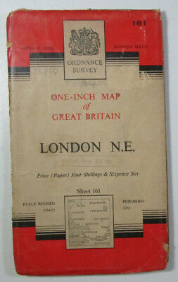 Old Vintage 1960 OS Ordnance Survey seventh series one-inch Map 161 London N E