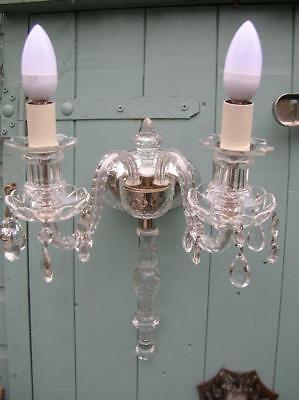 Vintage Crystal Wall Light / Candelabra. Large. Two Branch. C.1930/40.  (154)