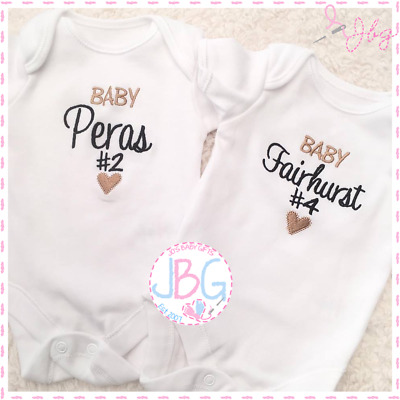 Personalised Baby #1 Vest Unisex, Embroidered Design, Clothes, Grow, Bodysuit