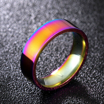 6mm Rainbow Band 316L Stainless Steel for Women Men's Multi-color Ring Size 5-13