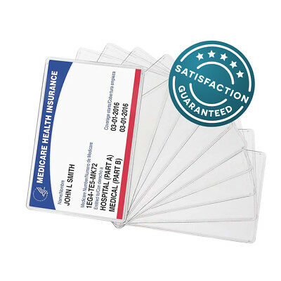 10-PACK New Medicare Card Holder Protector Sleeve Clear 6 Mil, Wallet Size