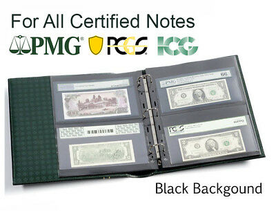 20 Lighthouse Grande Double Side Black Pages For Graded Certified PMG Banknotes