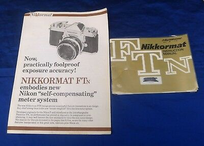 1970s NIKKORMAT FTN INSTRUCTION MANUAL AND NIKKORMAT FTN ADVERTISING BROCHURE.