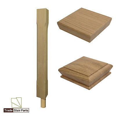 Stair Newel Peg Post - Stop Chamfered - Solid Wood - Oak