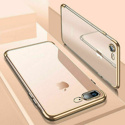 For iPhone 7 Case Shock Proof Crystal Clear Soft Silicone Gel Bumper Cover Gold