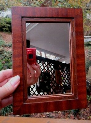 Antique Victorian ARTS & CRAFTS Wood MARQUETRY Small Mirror Picture FRAME c1900s
