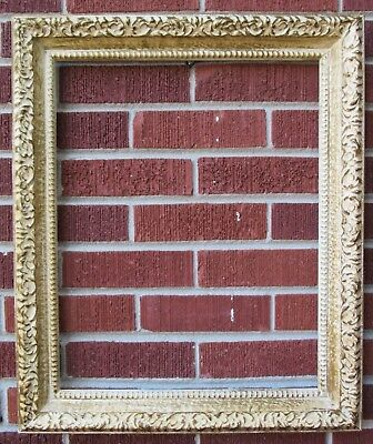Vintage American MID-CENTURY BEIGE & GOLD Compo FRAME 16 x 20 in.fit c1960s