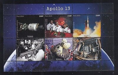 10x Space Apollo 13 Rocket Launch perf - Private Local issue Wholesale / not MNH