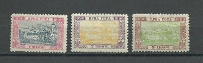 3 - Montenegro Stamps - 1696 * 1896...1 - 2 - 3...OG/Hinged