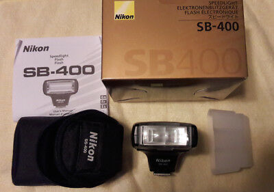 Nikon Speedlight SB-400 Shoe Mount Flash for Nikon w/ Case, Mfg Box, & Diffuser