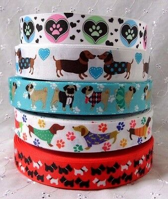 1m or 3m  Lengths Bertie/'s Bows Dachshund Dog Heart Ribbon 9mm or 16mm Width