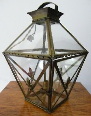 Large French Antique Reclaimed Brass Porch Hall Lantern Light Chandelier
