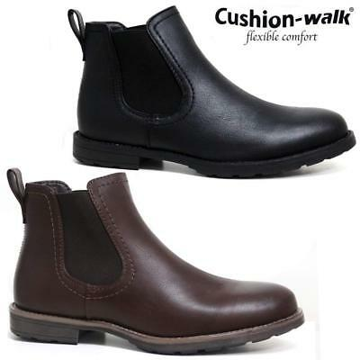 Mens Chelsea Boots Cushion Walk Dealer Ankle Smart Casual Slip On Shoes Size