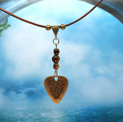 Bronze Metal Guitar Pick With Treble Clef & Tigers Eye Beads Leather Necklace
