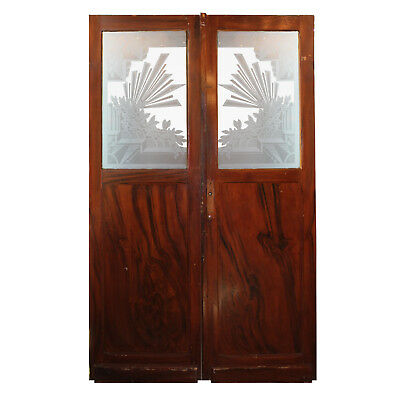 Salvaged Art Deco Door Pair with Acid-Etched Glass, NED942