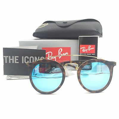 89754a9c4e4 New Ray-Ban RB4256-F 6092 55 Tortoise Round Sunglasses Blue Mirrored Lens