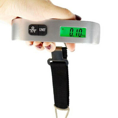 HK- Portable LCD Digital Travel Luggage Scale Hook Hanging Weight 110lb/50kg Flo