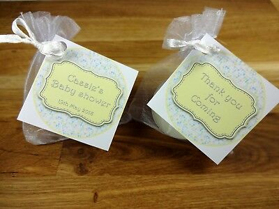 Baby shower scented candles favours tealights circle yellow unisex x 10 pack