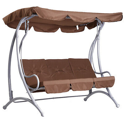 Patio Garden Swing Chair Metal Swinging Hammock Cushioned Bench Seat 3 Seater