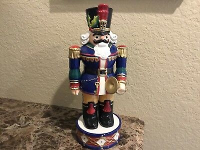 "Fitz and Floyd Christmas Nutcracker 14.5"" Porcelain TRUMPET Soldier Figurine"