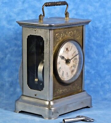 Antique WATERBURY Carriage Alarm Clock- Nickel, Brass, Glass, Bell Chime, Works
