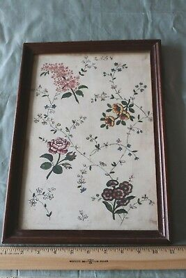 Antique 18thC French Hand Painted & Framed Floral Textile-Fabric Design c1760-70