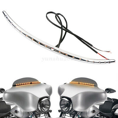 Chrome Motor Windshield Trim With Turn Signal LED Light For Harley Touring 14-17