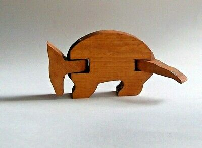 Small Hand Crafted Armadillo Solid Wood Jointed Figure-TEXAS State Mammal-Signed