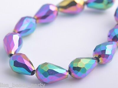 10pcs 15x10mm Teardrop Faceted Crystal Glass Loose Spacer Bead Colorized