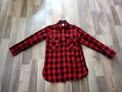 VTG 5 Brothers 100% Wool Button Up Shirt Mens S  Red Black Logger Hunting