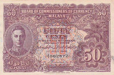 #Malaya and Straits Settlement 50 Cents 1941 P-10 XF+ King George VI