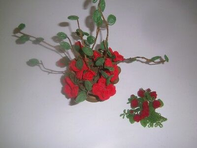 Vtg French Beaded Flowers Leaves Handmade Floral Red Bouquet Brass Pot 1960's