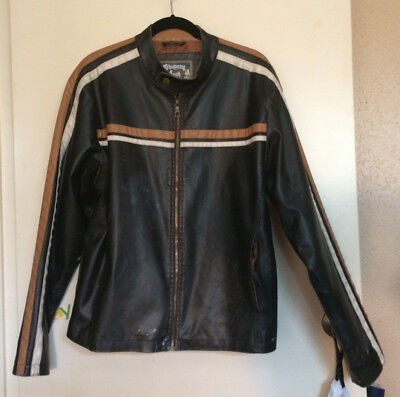 Vtg WHISPERING SMITH Mens L Brown Faux Leather Racer Trucker Jacket PAINT Grunge
