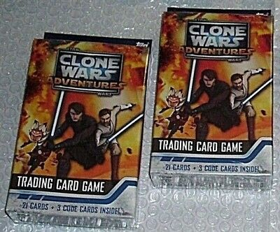 STAR WARS CLONE WARS ADVENTURES*f/s-2 HANGER BOXES*21 CARDS + 3 CODE CARDS PER*