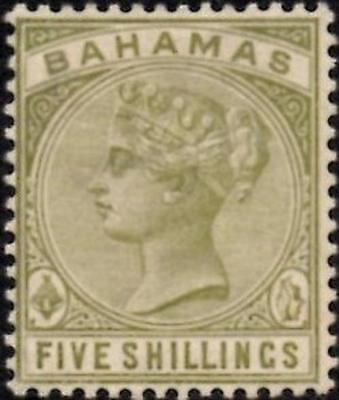 Bahamas 1884  Queen Victoria  5/- Sage-Green  SG.56  Mint (Hinged)