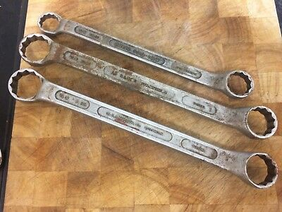 Vintage AB Bahco Sweden Ring Spanner x 3  Whitworth and BS