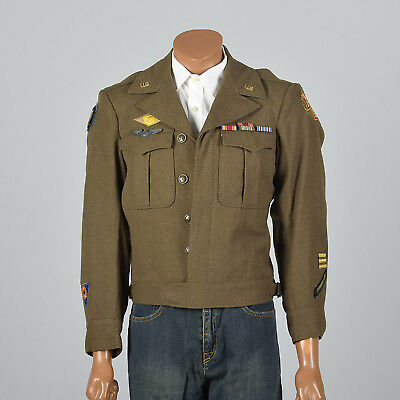 Medium 1944 Military Ike Jacket with Pins Patches VTG Eisenhower Green Wool