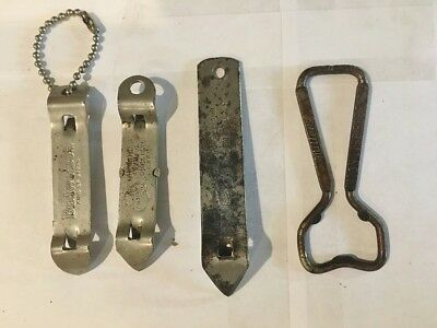 Four vintage beer bottle cap and can openers Miller-Falstaff-Budweiser
