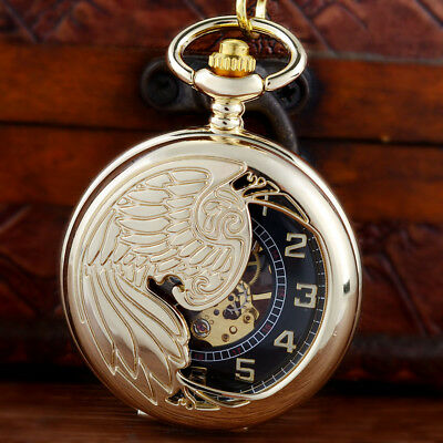 Gold Phoenix Vintage Steampunk Skeleton Windup Mechanical Pocket Watch Chain