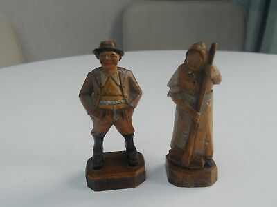 Antique German Austrian Black Forest Handcarved Small Wooden Male Female Figures