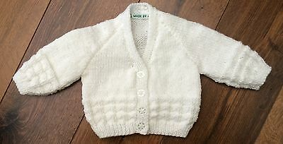 NEW Hand Knitted Baby Cardigan In White Colour Yarn  Size - 0-3 Months