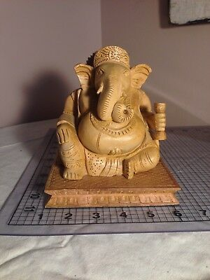 Wooden Carving Staue God Ganesha With Base
