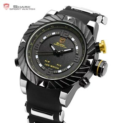 Luxury SHARK Sport Watch Mens Outdoor Fashion Digital LED Multifunction 3ATM