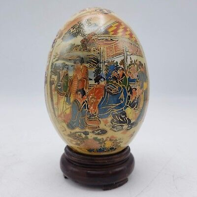 """Hand Painted Porcelain Egg - Chinese / Japanese Asian Scene w/ Wooden Stand 4.5"""""""