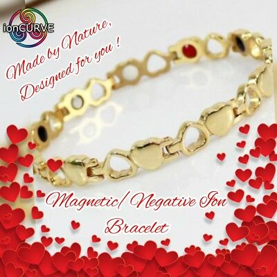 "ionCURVE GOLD CUPID MAGNETIC / NEGATIVE ION BRACELET- LADIES  20.5cm/8"" FREE p&p"